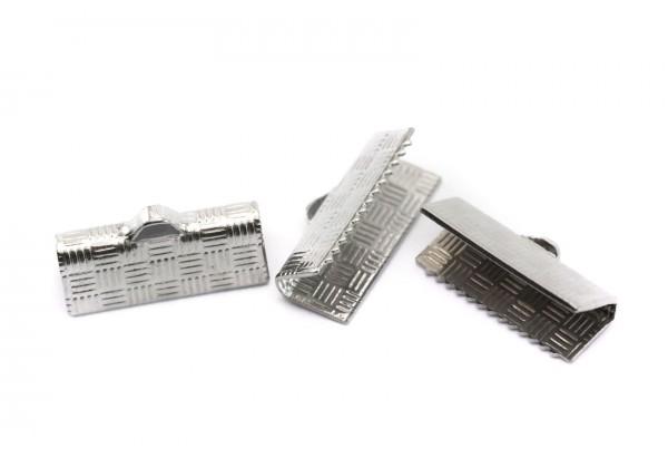 10 Embouts Fermoirs à Griffes à motifs en Acier Inoxydable - Longueur : 15 mm - Embouts à Pincer - Couleur Argent