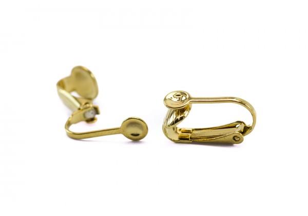 2 Supports Boucles d'oreilles à clip en Acier Inoxydable - Dim. : 16 x 10 mm - Couleur Doré