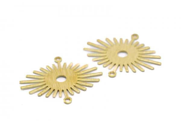 6 Connecteurs Soleil avec 2 boucles en Laiton Brut - Dim : 24 x 20 mm - Couleur Doré