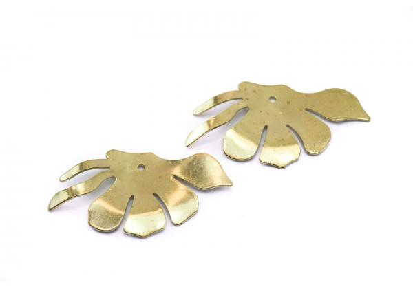 4 Breloques Feuilles de Ginkgo biloba en Laiton Brut - Dim. : 31 x 17 mm - Couleur Doré