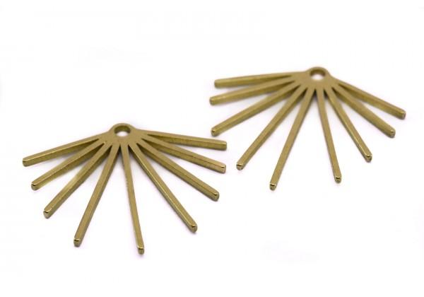 2 Breloques Eventail ou Soleil en Laiton Brut - Dim. : 23 x 21 mm - Couleur Doré