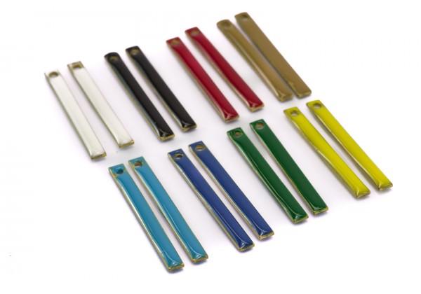 16 Sequins émaillés Tige bâtonnet - Dim. : 28 x 3 mm - Email Double face - Lot Multicolore