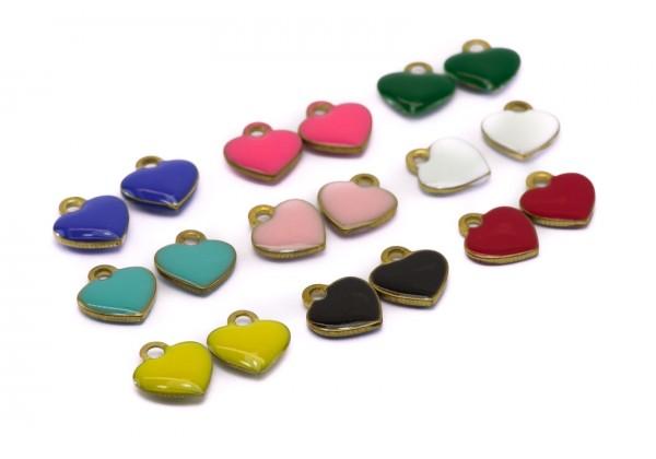 18 Sequins émaillés Coeur - Dim. : 10 x 9 mm - Email Double face - Lot Multicolore