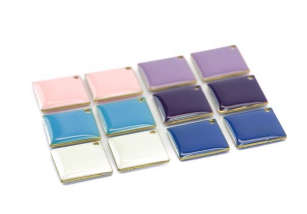12 Sequins émaillés Carré ou Losange - Dim. : 21 x 21 mm - Email Double face - Lot Multicolore